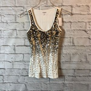 EXPRESS Embellished Cotton Tank Top XS